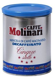 Caffe Molinari - 5 Star Decaf Ground Tin - 250g