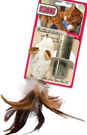 Kong -  Cat Toy Feather Mouse - White & Brown