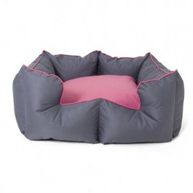 Wagworld - K9 Castle Dog Bed - Grey & Pink - Large