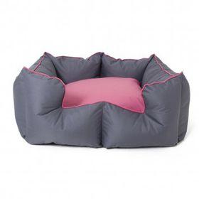 Wagworld Bolster Bed K9 Castle - Large 70cm x 80cm Grey & Pink