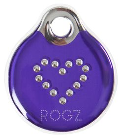 Rogz - Self-Customisable Large Resin ID Tag - Purple