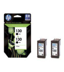 HP 130 Black Inkjet Print Cartridge with Vivera Ink - Twin Pack