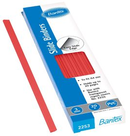 Bantex Slide Grips A4 3mm Spine - Red (20 Pack)