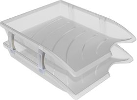 Bantex Optima Retail Pack - 2x Trays & Set of Risers - Clear