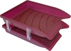 Bantex Optima Retail Pack - 2x Trays & Set of Risers - Burgundy