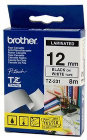 Brother TZ-231 Black on White 12mm Laminated Tape