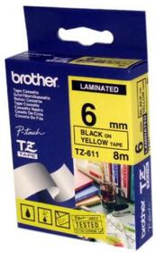 Brother TZ-611 6mm x 8m Black on Yellow Laminated Tape