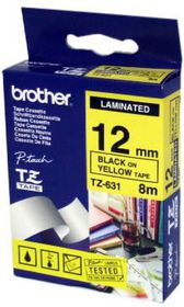 Brother TZ-631 12mm x 8m Black On Yellow Laminated Tape