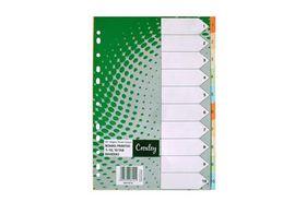 Croxley Pastel Board Dividers 160 GSM Printed - 1-10