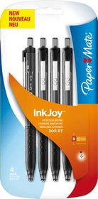Paper Mate Inkjoy 300 Retractable Ballpoint Pens - Black (Carded 4's)