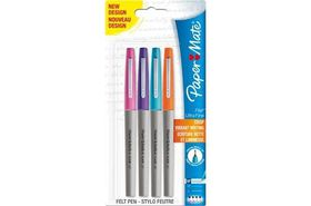 Paper Mate Flair Ultra-Fine Fibre Tip - Assorted (Carded 4's)