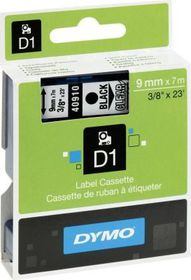Dymo D1 Tape Cassette - Black Print on Clear Tape (9mm x 7m)