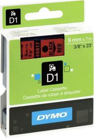 Dymo D1 Tape Cassette - Black Print on Red Tape (9mm x 7m)