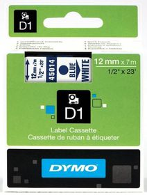 Dymo D1 Tape Cassette - Blue Print on White Tape (12mm x 7m)