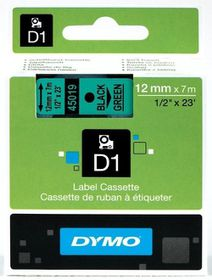 Dymo D1 Tape Cassette - Black Print on Green Tape (12mm x 7m)
