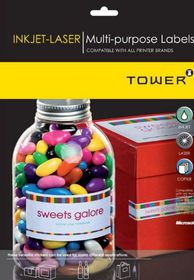 Tower W104 Multi Purpose Inkjet-Laser Labels - Box of 100 Sheets