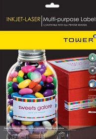Tower W236 Multi Purpose Inkjet-Laser Labels - Box of 100 Sheets