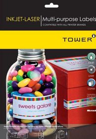 Tower W105 Multi Purpose Inkjet-Laser Labels - Box of 1000 Sheets