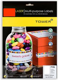 Tower F106 Multi Purpose Inkjet-Laser Labels - Fluorescent Red - Pack of 25 Sheets