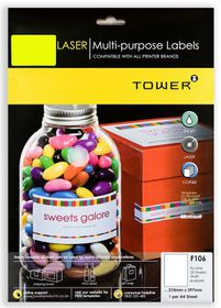Tower F106 Multi Purpose Inkjet-Laser Labels - Fluorescent Lime - Pack of 25 Sheets