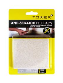 Tower Anti-Scratch Felt Pads - Cream (Pack of 2)