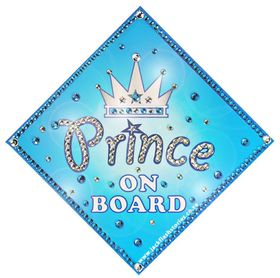 Jackflash - Baby On Board Sign - *BLING* - Prince Crown