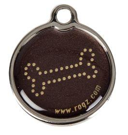 Rogz ID Tagz Metal Tag Small - 20mm Bronze Bone Design