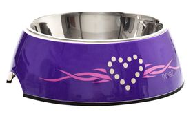 Rogz 2-in-1 Bubble Dog Bowl Extra Large - 1400ml Purple Chrome