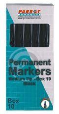 Parrot Marker Permanent Medium Box 10 - Black