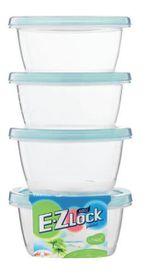 Ez Lock 4 Piece Round Container Set Blue - 120 ml