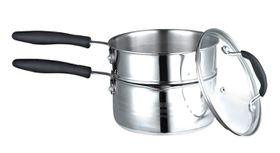 Aloe 2 In 1 Double Boiler & Saucepan With Glass Lid