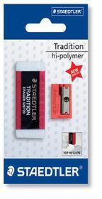 Staedtler Tradition Eraser and Single-Hole Plastic Sharpener