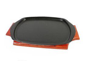 LK's - Steak Plate And Wooden Base - Vitreous Enamelled