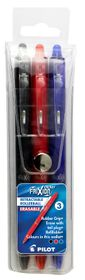 Pilot Frixion Ball Clicker Erasable Medium Rollerball Pens - Wallet of 3 Basic Colours