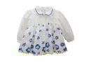 Phoebe & Floyd Garden Rose Babydoll Top with Collar - White & Blue