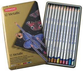 Derwent Metallic Pencils - Tin of 12