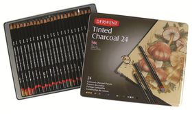 Derwent Tinted Charcoal Pencils - Tin of 24