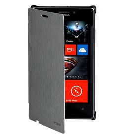 Mozo Nokia Lumia 925 Stripe Flip Cover - Grey