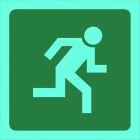 Tower Photoluminescent Sign - Man Running Right (Small)