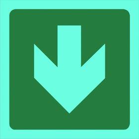 Tower Photoluminescent Sign - Green Arrow Down