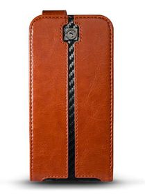 Marblue Jag Folio Flip for the Apple iPhone 6/6S Plus - Brown/Carbon Fibre