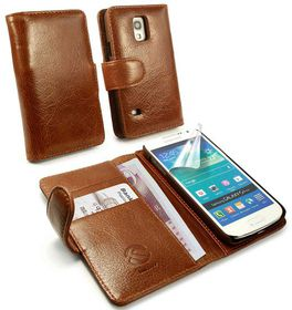 Tuff-Luv Vintage Leather Wallet Case Cover for Samsung Galaxy S5 Mini - Brown