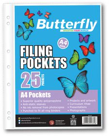 Butterfly Filing Pockets A4 25's