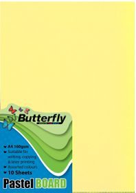 Butterfly A4 Pastel Board 10s - Yellow