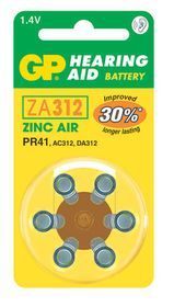GP Batteries 1.4V ZA312 Hearing Aid Zinc Air Batteries
