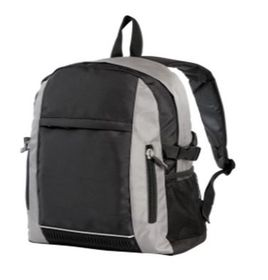 Eco Double Zipped Front Pocket Backpack - Black & Grey