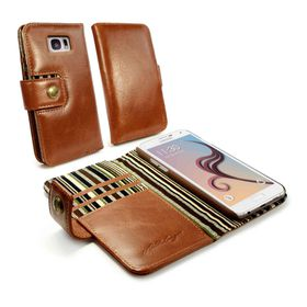 Tuff-Luv Alston Craig Vintage Genuine Leather RFID Wallet Case Cover for Samsung Galaxy S6 - Brown