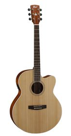 Cort CJ1F NS Acoustic Electric Guitar, Solid Top - Natural Satin