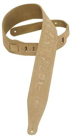 """Levy LLMS17T01SND MS17T01 2.5"""" Suede Leather Guitar Strap Tooled with Zodiac Design - S&"""