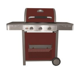 Alva - Vancouver Red Gloss Enamel Hooded 3 Burner Gas Grill